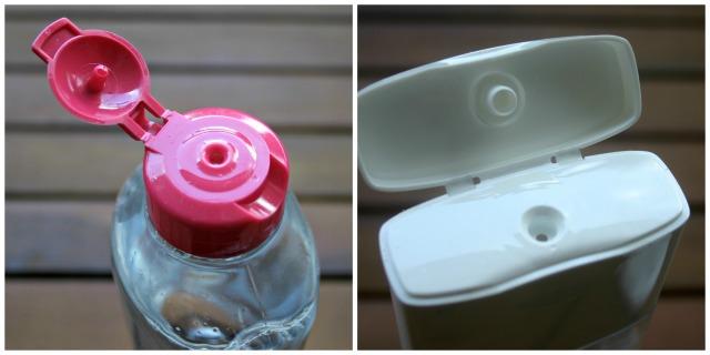 mizellenwasser, mizellen, reinigungsfluid, garnier, loreal hydra active 3, vergleich, test, öffnung, verpackung